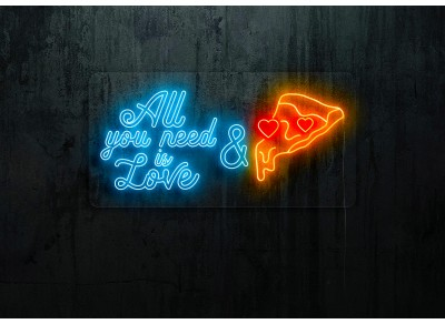 "Neon Led ""All you need is love & pizza"""