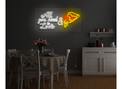 """Neón Led """"All you need is love & pizza""""lightsandwires"""