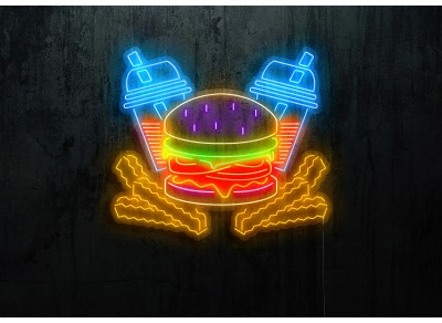 neon led burger lightsandwires