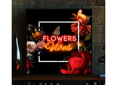 cuadro con vinilo flower vibes, lightsandwires