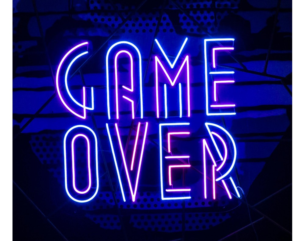 game over neon led lightsandwires