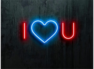 NEON LED I LOVE YOU, COLOR ROJO CORAZON AZUL, LIGHTSANDWIRES