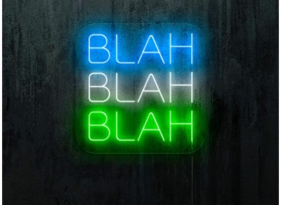 NEON LED BLAH BAH BLAH, color azul, blanco y verde. lightsandwires