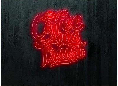 neon led in coffee we trust, lightsandwires