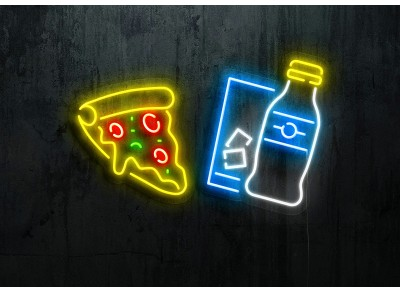 "Neon Led ""Pizza and Soft Drink"""